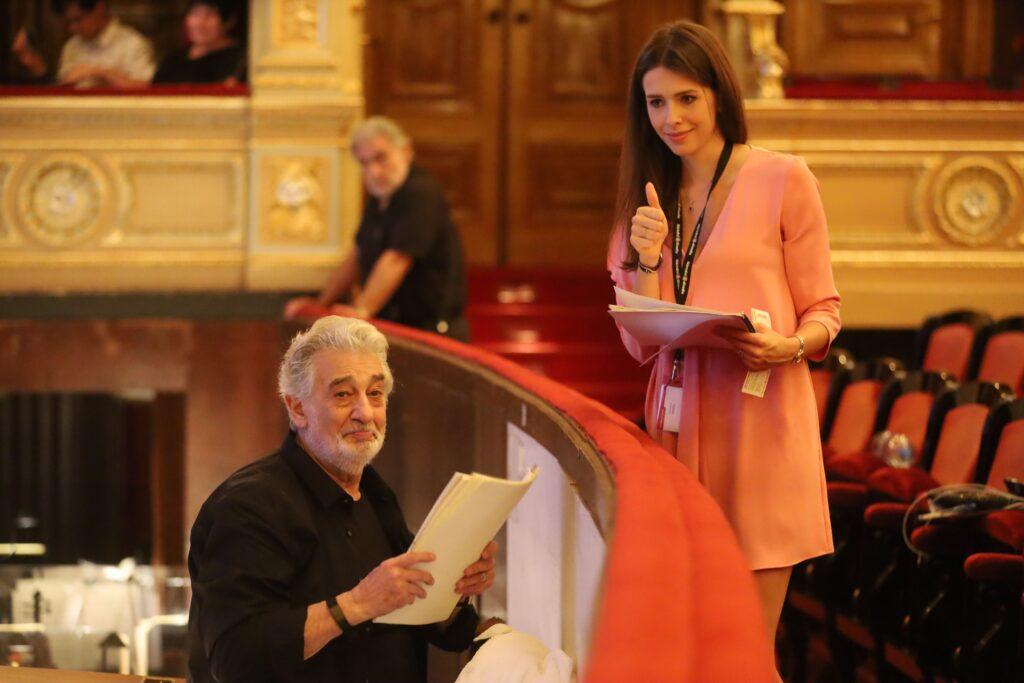 Gabriela Bohacova and Placido Domingo at the Estate Theatre
